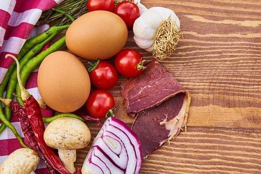 Egg, Onion, Garlic, Bacon, Meat, Mushroom, Mushrooms
