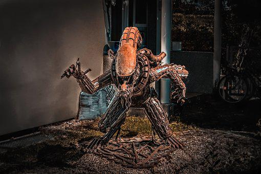 Alien, Sculpture, Fantasy, 3d, Artistic, Metal