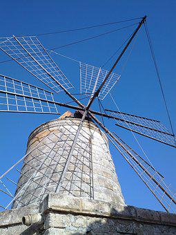 Drills, Mill, Wind, Saline, Sky, Sicily, Work