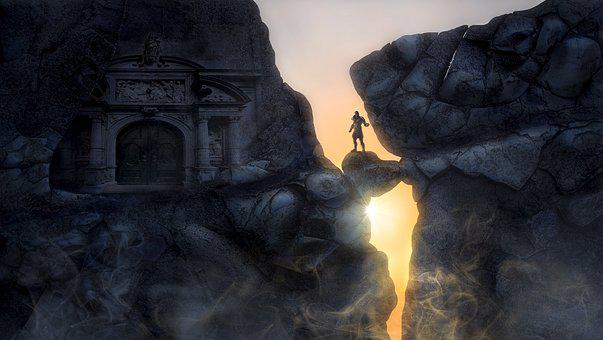 Fantasy, Rock, Temple, Man, Mystical, Stone, Mood