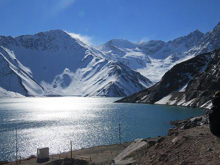 Snow, Nevado, Sol, Blue, Lake, Mountain, Landscape