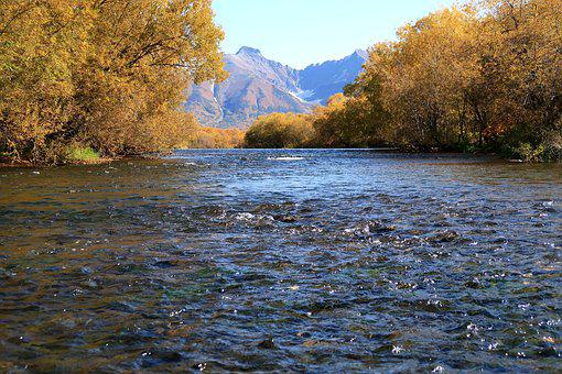 Autumn, River, Mountains, An Ancient Volcano