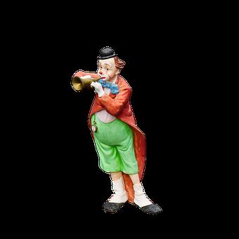 Figure, Clown, Porcelain, Musical Clown, Cheerful