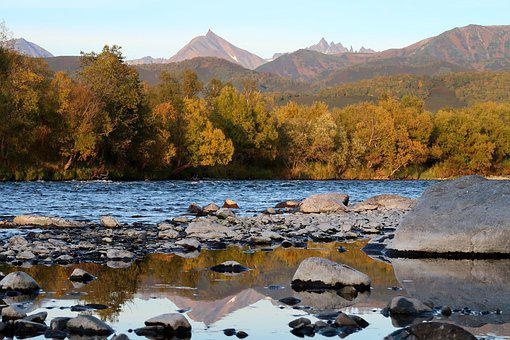 Autumn, River, Mountains, Forest, Fall Colors