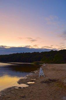 Lake, Sunset, Beach, Water, Sky, Nature, Landscape