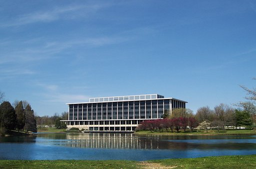 Office Building, Lake, Reflection, Suburban, Maryland