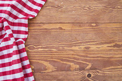 Table, Cover, Plaid, Red, Background, Wood, Detail