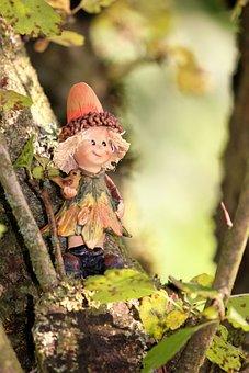 Imp, Autumn, Tree, Funny, Gnome, Woman, Cheerful, Tribe