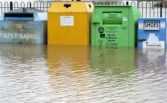 Flood, Bins, Water, Recycle