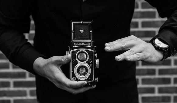 Man, Camera, Rolleicord, Watch, Taking Pictures, People