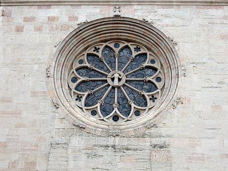Church Window, Rosette, Glass Window, Window