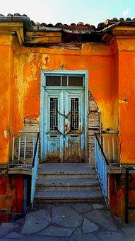 Door, House, Castle, Chain, Color, Orange, Blue, Stairs