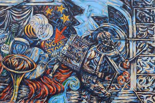 Graffiti, East, Side, Gallery, Berlin, Berlin Wall, Art
