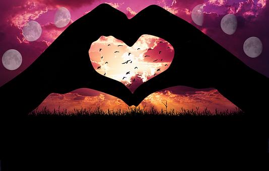Digital Art, Visual Art, Moon, Silhouette, Heart, Birds