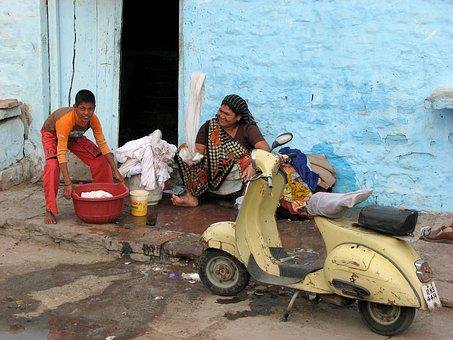 Wash, Help, Joy, Family, Scooter, Old Scooter, India
