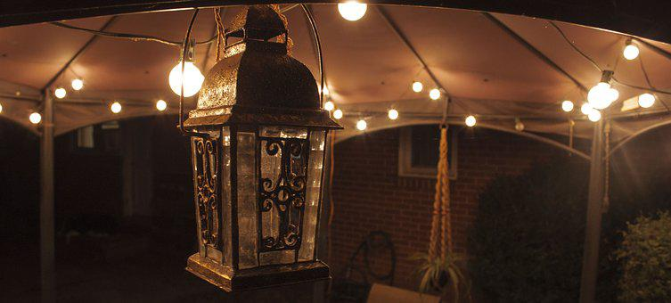 Lantern, Gazebo, Low Light, Outside, Night, Night Time