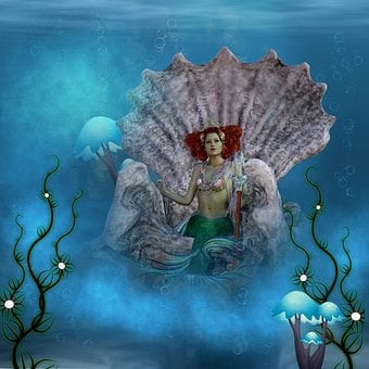 Mermaid, Trident, Sea, Throne, Queen, Composing, Mood