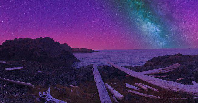 Canada, Night Sky, Stars, Ocean, Summer, Beach
