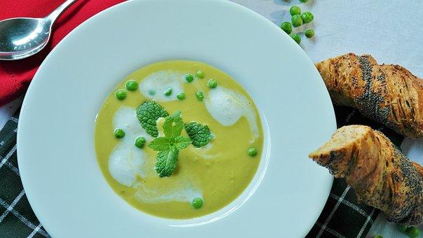 Pea Soup, Soup, Starter, Soup Bowls, Bowl, Peas, Green