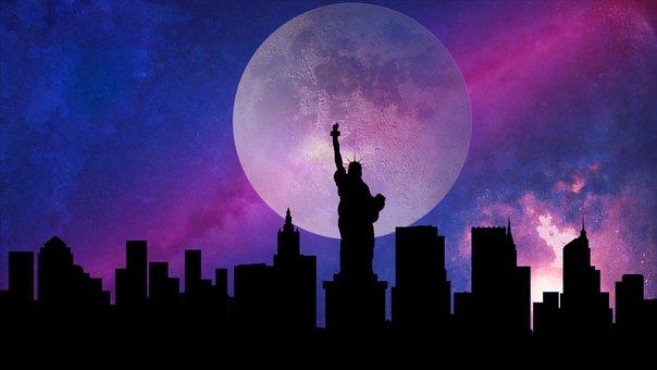New York, Moon, Stars, City, Building, New, York