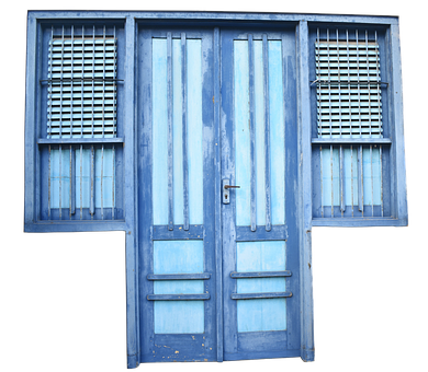 Door, Front Door, Old, Weathered, Blue, Window