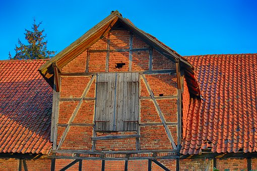 Barn, Old, Truss, Dormer, Luke, Bricks, Brick, Old Barn