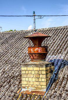 Chimney, Fireplace, Iron, Stainless, Old, Roof, Brick