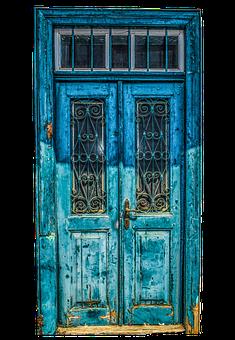 Door, Input, Wood, Glazed, Old, Wrought Iron, Blue