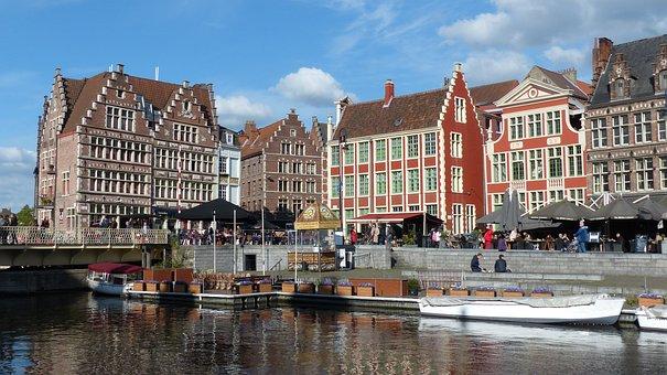 Ghent, Gent, Flanders, Belgium, Graslei