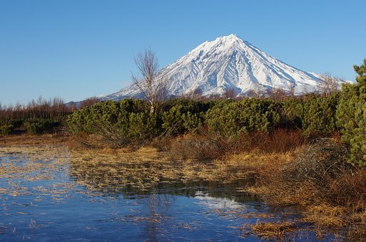 Koryaksky Volcano, Kamchatka, Autumn, Snow