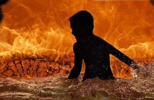 Fire, Child, Silhouette, Molten, Lava, Kid, Boy, People
