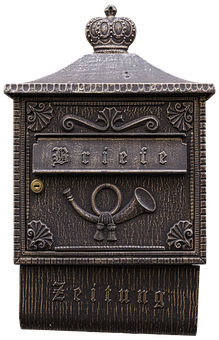 Letter Boxes, Post Horn, Mailbox, White, Metal, Letters