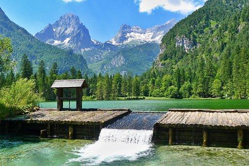 Nature, Landscape, Mountains, Pond, Wooden Weir
