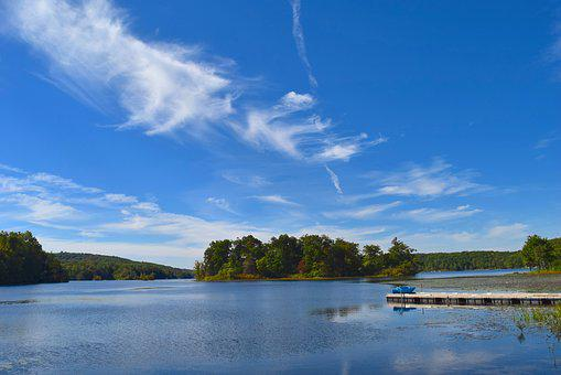 Lake, Island, Water, Reflection, Sky, Clouds, Blue