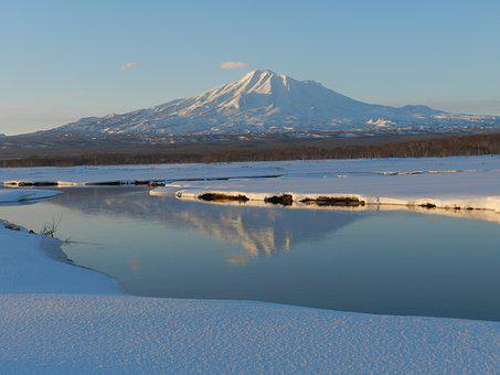 Volcano, River, Bend, Silence, Tranquility, Reflection