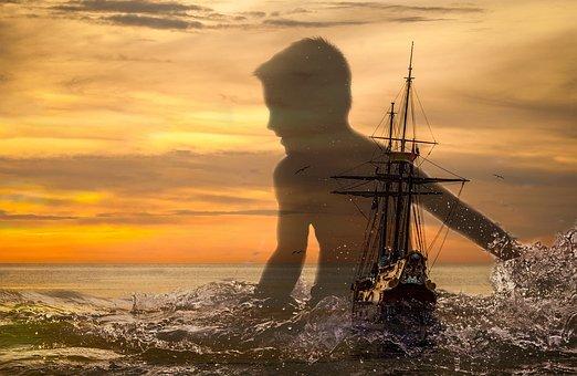 Ship, Dream, Shadow, Travel, Sea, Boat, Water, Ocean