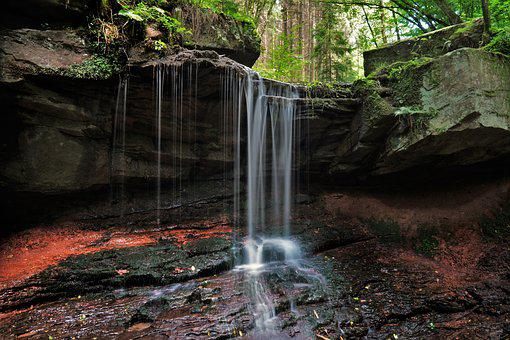 Waterfall, Forest, Spessart, Nature