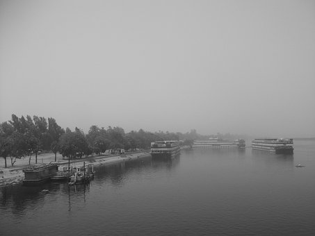 Black And White Riverscape, River Transport