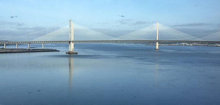 Edinburgh, River, Bridge, Suspension, Span, Blue, Sky