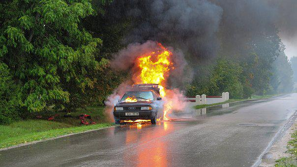 Car Accident, Fire, Street, Accident, Car