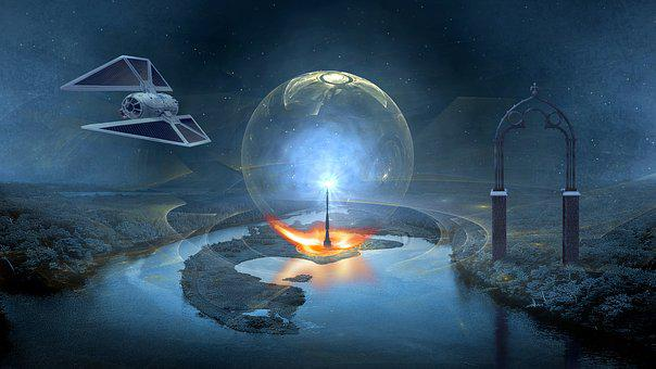 Fantasy, Science Fiction, Landscape, Forward, Spaceship