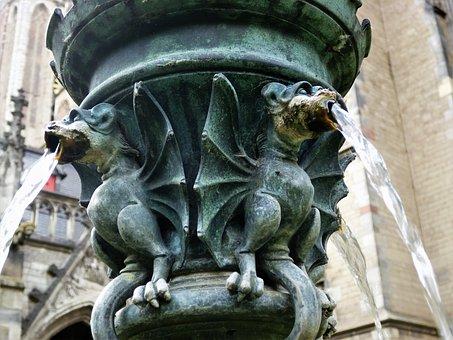 Dragons, Fountain, Mythical Creatures, Figure, Gargoyle