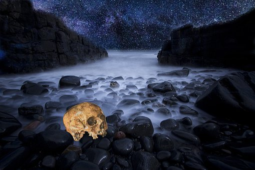 Skull, Fog, Beach, Rocks, Stars, Halloween, Death