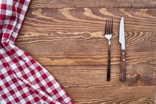 Table, Cover, Fork, Knife, Background, Wood, Detail