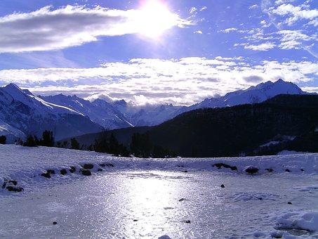 Mountain, Snow, Winter, Nature, Landscape, Sun, Frozen