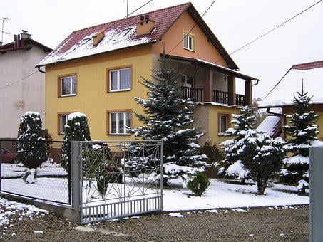 House, Snow, Yellow, Germany, Frost, Architecture