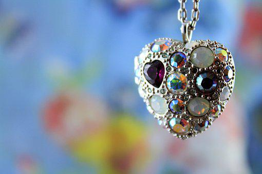 Heart, Love, Jewel, Necklace, Sparkling Stones
