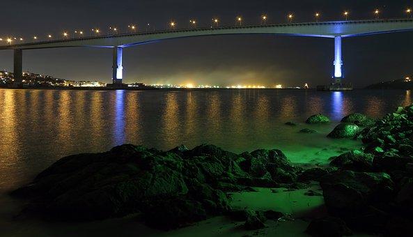 Bridge, Landscape, Night, Ocean, Mar, Litoral