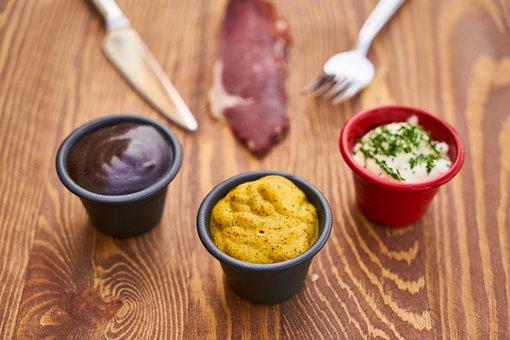 Sauce, Bacon, Mustard, Ketchup, Mayonnaise, Fork, Knife