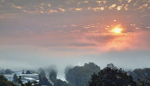 Neckar, Fog, Sunrise, Landscape, Morgenstimmung, Nature